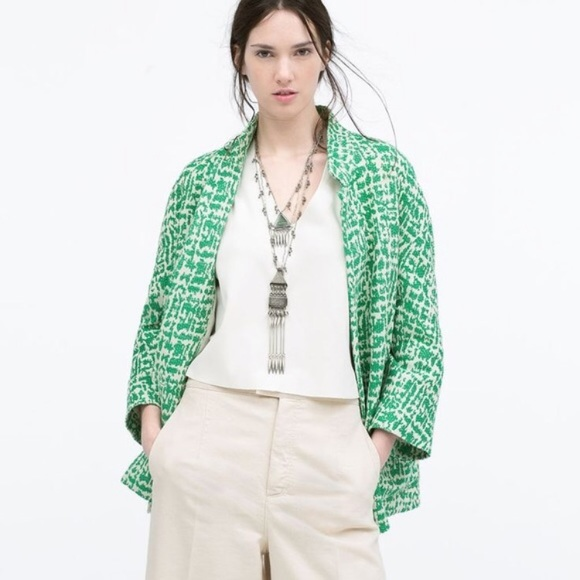6d4bd350 Zara Jackets & Coats | Jacquard Emerald Green Jacket Nwt | Poshmark